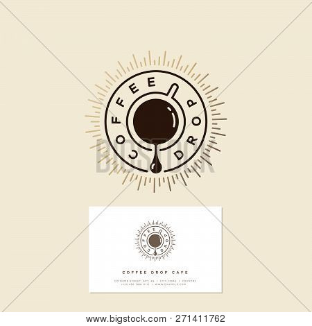 Coffee Drop Cafe Logo. Coffee Emblem. Coffee Drop And A Cup Of Coffee With Gold Sunrays. Hipster Fla