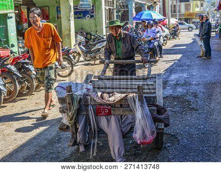 Taunggyi, Myanmar - Feb 8, 2018. Vendor On Street In Taunggyi, Myanmar. Taunggyi Is The Capital Of S