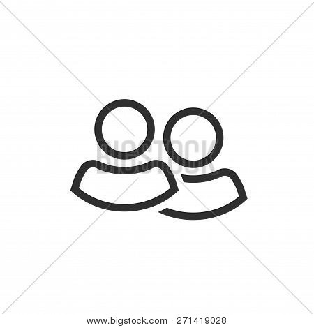 Two People Icon Vector, Line Outline Two Persons Together Isolated Symbol, Idea Of Couple Shape Or T