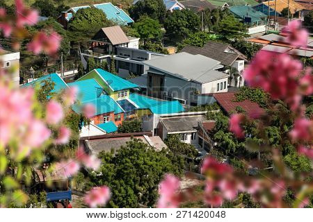 Elevated view of colorful houses in residential area of Pattaya, Thailand