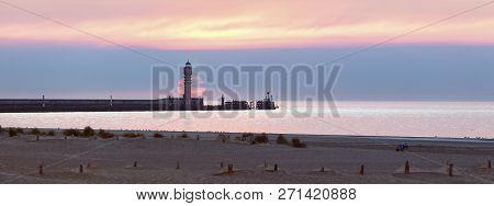 Feu De Saint Pol Lighthouse In Dunkirk At Sunset. Dunkirk, Hauts-de-france, France.
