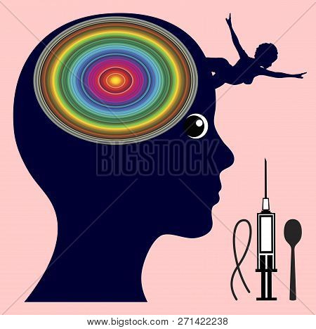 Effects of heroin on the brain. Woman is feeling a surge of pleasure and euphoria as soon as morphine enter the brain poster