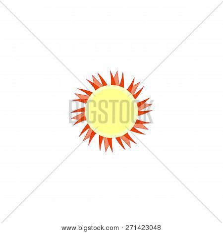 Sun Sign On White Background. Orange Solar Symbol. Sol Icon Vector Flat. Sun Basic Symbol. Sticker S
