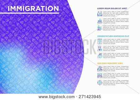 Immigration Concept With Thin Line Icons: Immigrants, Illegals, Baggage Examination, Passport, Inter