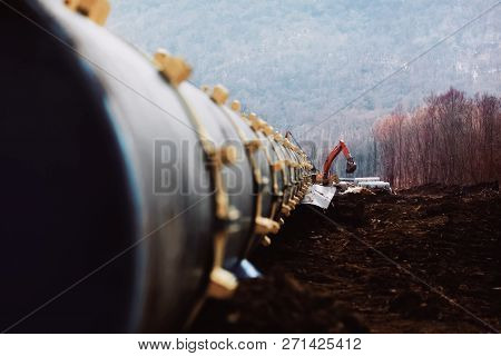 Pipes Of A Gas Pipeline, Construction And Laying Of Pipelines For Transportation Of Gas And Oil.