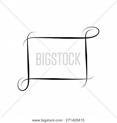 Frame With Wavy Line. Fashion Graphic Background. Modern Stylish Abstract Texture. Monochrome Templa