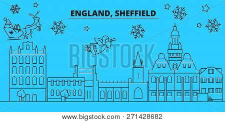 Great Britain, Sheffield Winter Holidays Skyline. Merry Christmas, Happy New Year Decorated Banner W