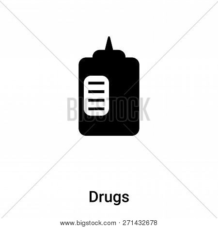 Drugs Icon In Trendy Design Style. Drugs Icon Isolated On White Background. Drugs Vector Icon Simple