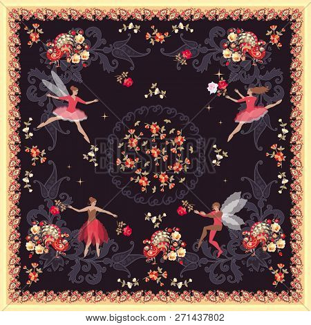 Beautiful Square Card Or Pillowcase With Cute Ballerinas, Fairy And Elf With Magic Peacocks And Flow