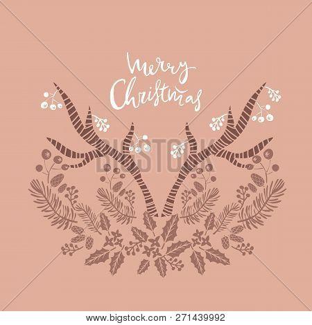 Merry Christmas. Handwriting Inscription  With  Horn, Mistletoe, ,christmas Wreath, Conifers: Fir, L