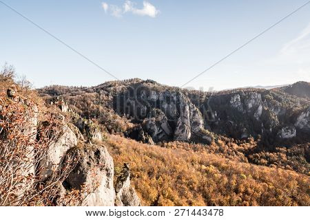 Sulovske Skaly Mountains In Slovakia With Rocks, Colorful Forest And Blue Sky During Nice Autumn Day