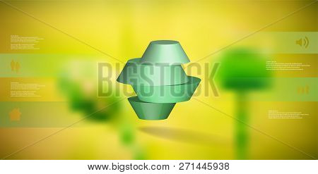 3d Illustration Infographic Template. The Round Octagon Is Divided To Four Color Parts. Object Is Ar