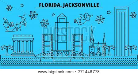 United States, Jacksonville Winter Holidays Skyline. Merry Christmas, Happy New Year Decorated Banne