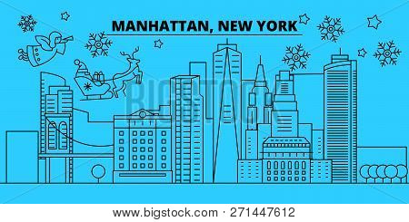 United States, Manhattan Winter Holidays Skyline. Merry Christmas, Happy New Year Decorated Banner W
