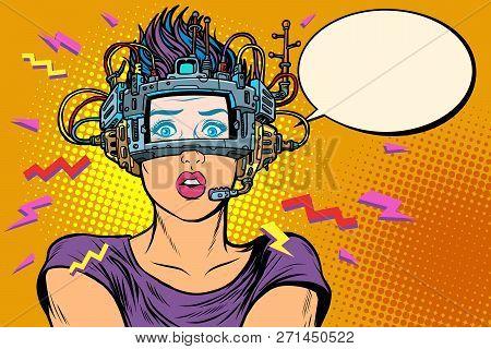 surprised woman in VR glasses. Pop art retro vector illustration vintage kitsch poster