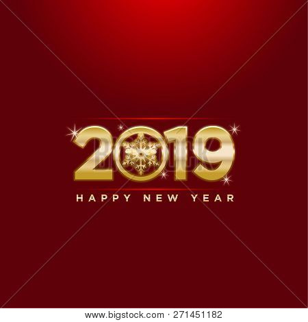 2019 On Red  Background, New Year 2019, 3d Illustration, Happy New Year 2019, Red 3d Numbers, New Ye