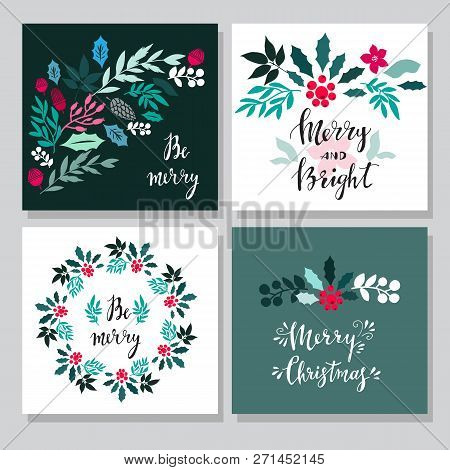 Set Of Hand Drawn Christmas Cards  With Snowflake, Lettering, Christmas Wreath, Conifers: Fir, Larch