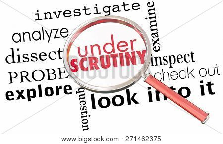 Under Scrutiny Investigation Magnifying Glass 3d Illustration