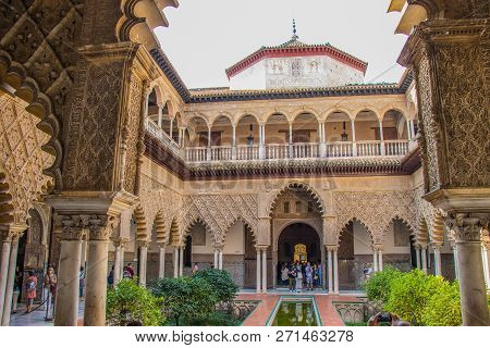 Sevilla, Spain - October, 2018: Alcazar Palace In Sevilla. The Alcazar - Example Of The Moorish Arch