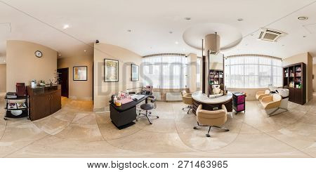 Minsk, Belarus - August, 2017: Full Seamless Spherical Panorama 360 Degrees Angle View In Interior S