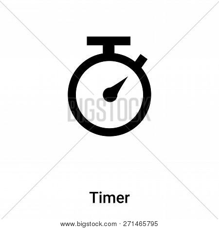 Timer Icon In Trendy Design Style. Timer Icon Isolated On White Background. Timer Vector Icon Simple