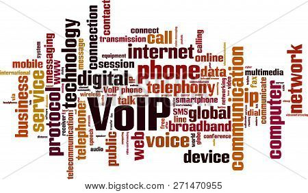 Voip Word Cloud Concept. Vector Illustration On White