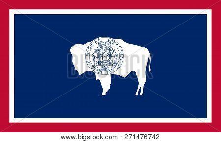 Flat Wyoming State Flag - United States Of America