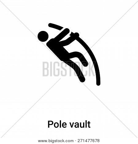 Pole Vault Icon In Trendy Design Style. Pole Vault Icon Isolated On White Background. Pole Vault Vec