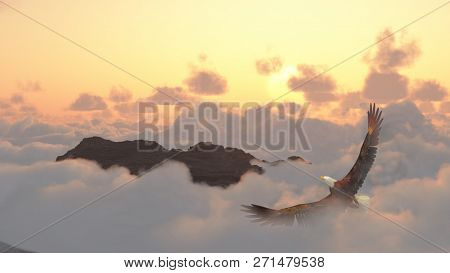 Eagle soars in cloudy sky. Mountain peak. 3D rendering