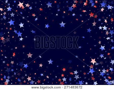 American Presidents Day Stars Background. Holiday Confetti In Usa Flag Colors For Presidents Day. Gr