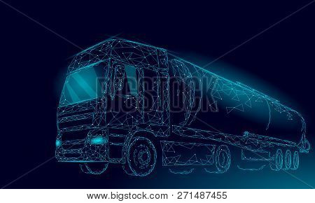 Oil Truck Highway Cistern 3d Render Low Poly. Fuel Petroleum Finance Industry Diesel Tank. Cylinder