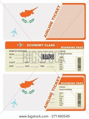 Plane Ticket Economy Class In Cyprus. Vector Illustration.