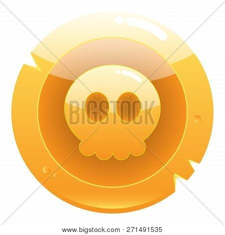 Golden Game Pirate Coin Icon With Cute Skull