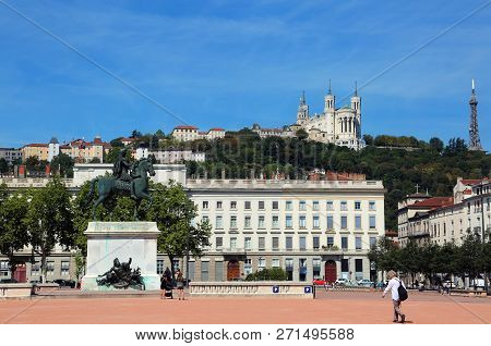 Lyon France The Main Square Called Place Bellecour And The Basilica Over The Hill And Equestrian Sta