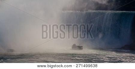 Niagara Falls, Ontario, September 24, 2017 - Horizontal Of The Maid Of The Mist Tour Boat Entering T