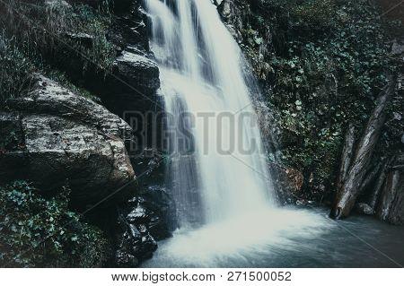 Cascade Of Waterfalls In The Mountains Of Krasnaya Polyana