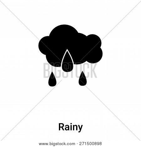 Rainy Icon In Trendy Design Style. Rainy Icon Isolated On White Background. Rainy Vector Icon Simple