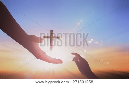 Jesus Helping Hand Concept: World Peace Day Help Hand On Sunset Background