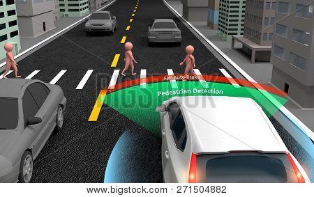 Pedestrian Detection Technology, Autonomous Self-driving Car With Lidar, Radar And Wireless Signal C