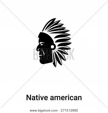 Native American Icon In Trendy Design Style. Native American Icon Isolated On White Background. Nati