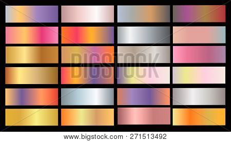 Gold Rose, Bronze, Silver And Gold Foil Texture Gradation Background Set. Vector Golden Elegant, Shi