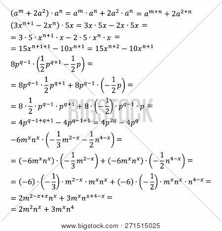 Example Of The Algebraic Problem Of Opening Brackets Multiplication Of Polynomials And Monomials Mul