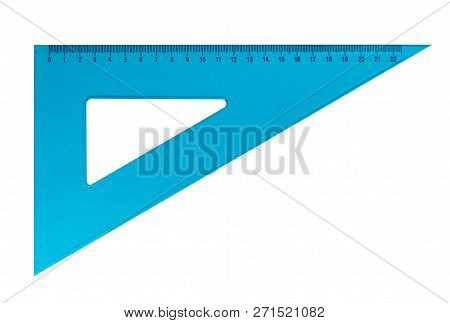 Light Blue Plastic Triangular Ruler Isolated On White Background. Clipping Path Included.
