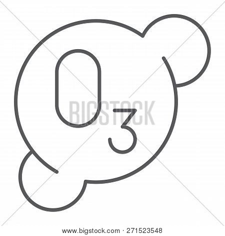 Ozonation Thin Line Icon, Formula And Ozone, Molecule Sign, Vector Graphics, A Linear Pattern On A W