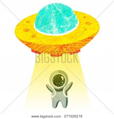 Astronaut With Flying Saucer Illustration Textured Raster