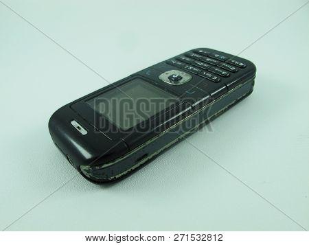 Kediri, Indonesia - November 15, 2018 - Old Nokia 6030 Mobile Phone, Perspective View