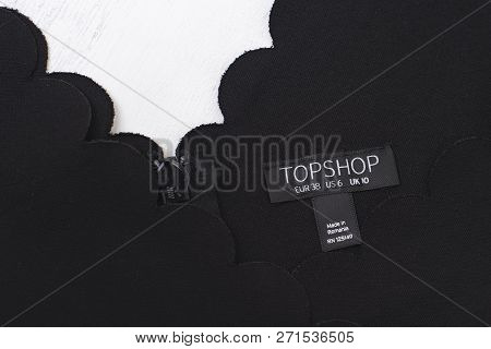 Kharkov, Ukraine- November 07, 2018: Black Label Toshop. Close Up. Fashion Concept