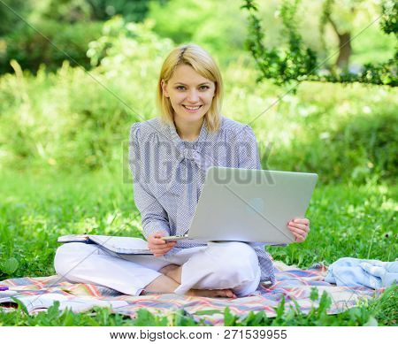 Guide Starting Freelance Career. Pleasant Occupation. Business Lady Freelance Work Outdoors. Become