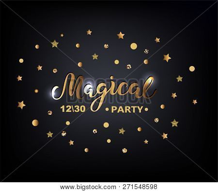 Handwriting Lettering Welcome On Background With Golden Stars. Vector Illustration Welcome For Greet