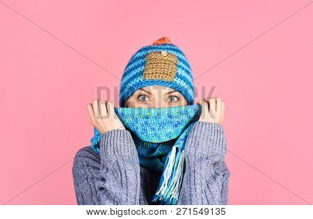 Woman In Warm Sweater, Hat And Scarf. Woman In Winter Clothes. Winter Girl. Happy Girl In Warm Cloth